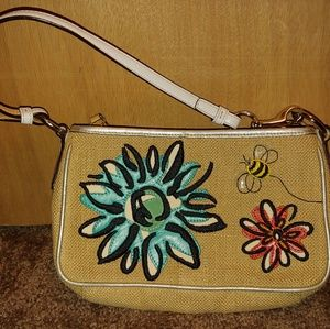 Coach flowers and bees wristlet/clutch/small bag